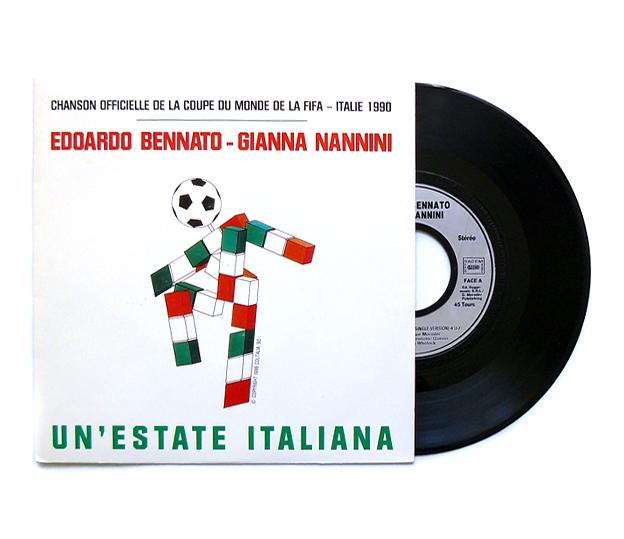 Coupe du monde de foot 45t chanson officielle coupe du monde de football fifa italie 90 - Musique de coupe du monde ...